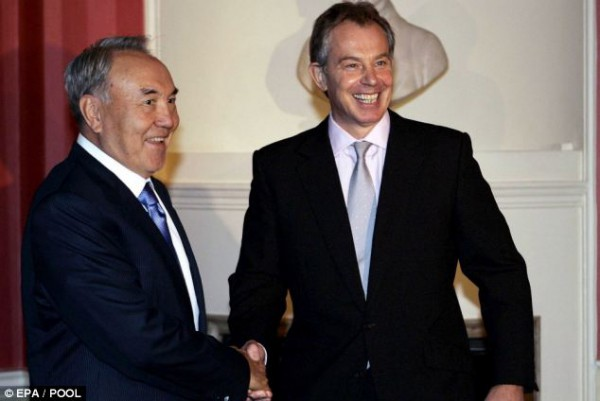 Tony Blair pictured with President Nazarbayev, source: dailymail.co.uk